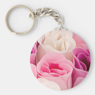 Soap roses basic round button key ring
