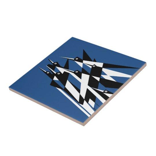 Soar To Success Art Deco Geometric Birds Tile