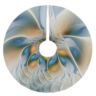 Soaring, Abstract Fantasy Fractal Art With Blue Brushed Polyester Tree Skirt