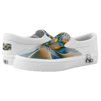 Soaring, Abstract Fantasy Fractal Art With Blue Slip-On Shoes