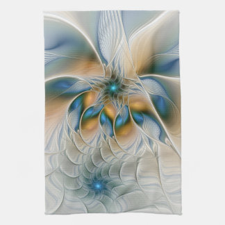 Soaring, Abstract Fantasy Fractal Art With Blue Tea Towel
