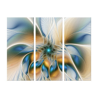 Soaring Abstract Fantasy Fractal W. Blue Triptych Canvas Print