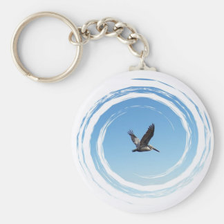 Soaring Brown Pelican Basic Round Button Key Ring