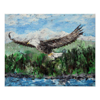 Soaring on Eagles Wings - Bald Eagle Painting Poster