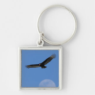 Soaring with Luna Silver-Colored Square Key Ring