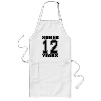 Sober 12 Years Black on White Long Apron
