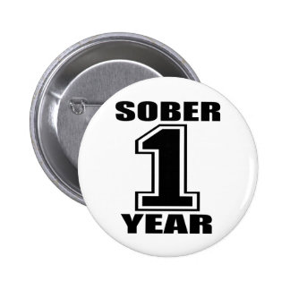 Sober 1 Year Black on White 6 Cm Round Badge