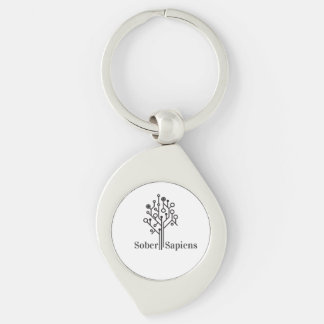 Sober Keychain Silver-Colored Swirl Key Ring
