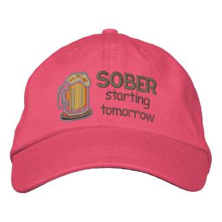 Sober Starting Tomorrow Embroidered Baseball Caps