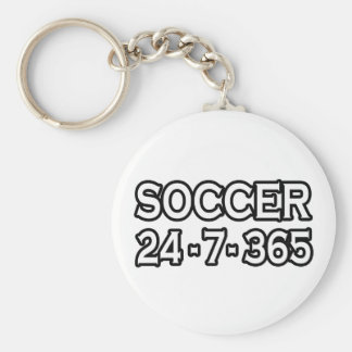 Soccer 24-7-365 basic round button key ring