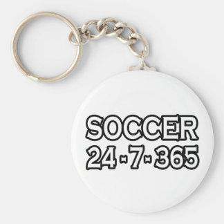 Soccer 24-7-365 basic round button key ring