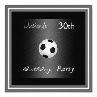 Soccer 30th Birthday Party  silver 13 Cm X 13 Cm Square Invitation Card