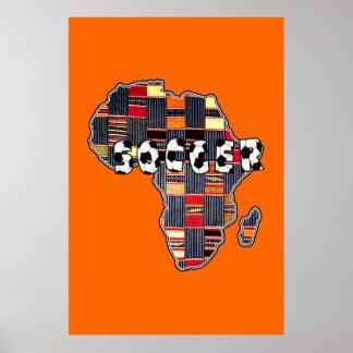 Soccer Africa Kente Map of Africa Soccer Poster
