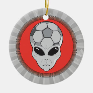 soccer alien head graphic christmas ornament