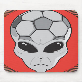 soccer alien head graphic mouse pads