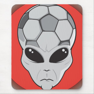 soccer alien head graphic mouse pad