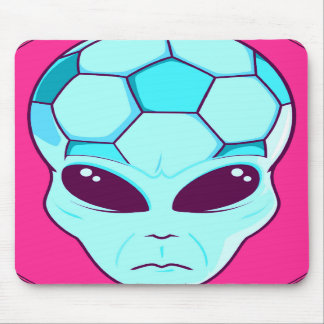 soccer alien head pink and blue mousepad