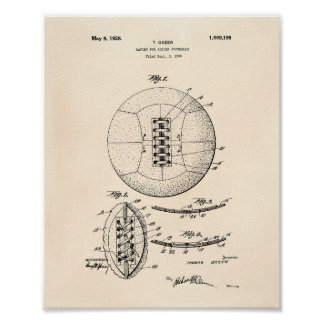 Soccer Ball 1928 Patent Art - Old Peper Poster