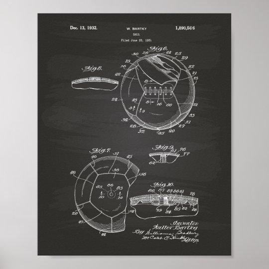 Soccer Ball 1932 Patent Art Chalkboard Poster