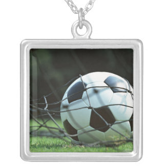 Soccer Ball 3 Square Pendant Necklace