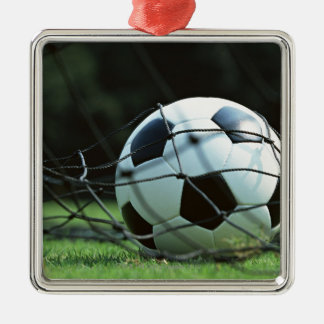 Soccer Ball 3 Silver-Colored Square Decoration