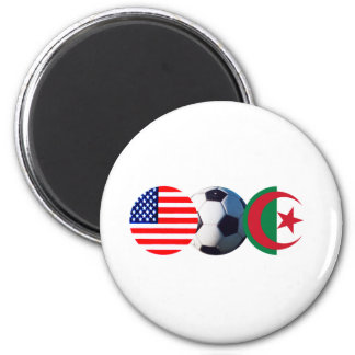 Soccer Ball Algeria & USA Flags The MUSEUM Zazzle 6 Cm Round Magnet