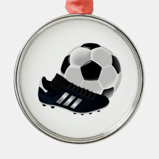 Soccer Ball and Cleats Silver-Colored Round Decoration