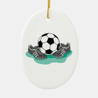 soccer ball and cleats vector design christmas ornament