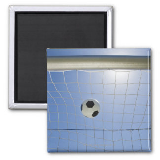 Soccer Ball and Goal 2 Square Magnet