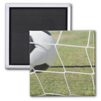 Soccer Ball and Goal Square Magnet