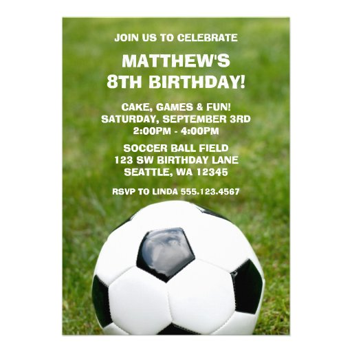 Soccer Ball and Grass Birthday Party Invitations
