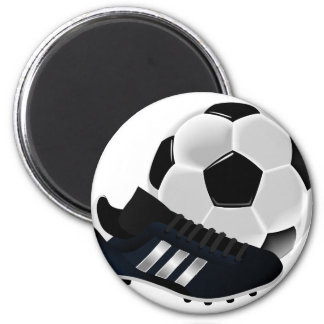 Soccer Ball and Shoe 6 Cm Round Magnet