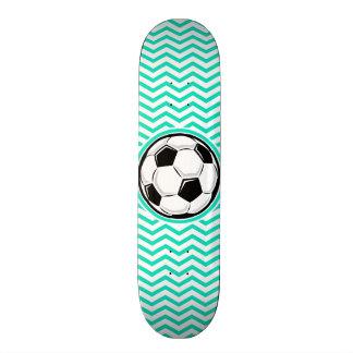 Soccer Ball Aqua Green Chevron Skateboard Deck