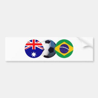 Soccer Ball Australia & Brazil Flag The MUSEUM Bumper Sticker