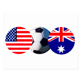 Soccer Ball Australia & USA Flag The MUSEUM Zazzle Postcard
