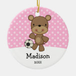 Soccer Ball Bear Pink Kids Personalised Christmas Round Ceramic Decoration