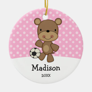 Soccer Ball Bear Pink Kids Personalized Christmas Round Ceramic Decoration
