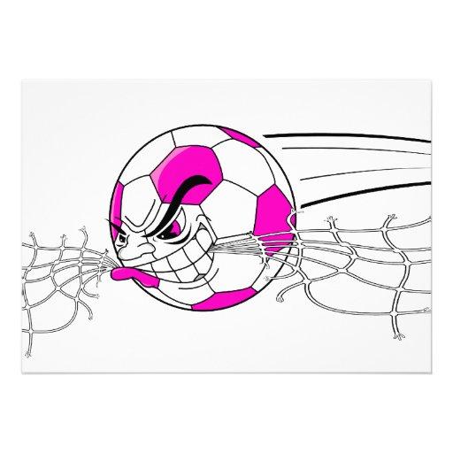 soccer ball biting net girls pink custom announcement