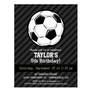 Soccer Ball; Black & Dark Gray Stripes Postcard