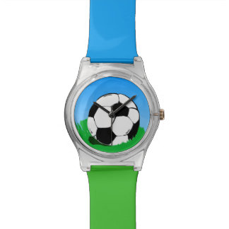 Soccer Ball Blue and Green Wristwatch