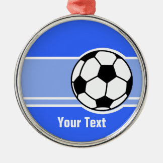 Soccer Ball; Blue Christmas Ornament