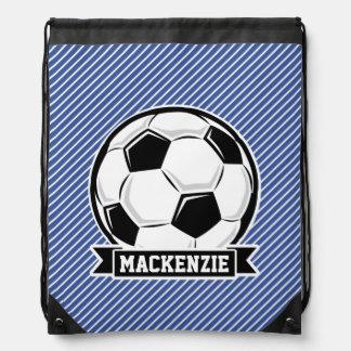 Soccer Ball, Blue & White Stripes, Sports Drawstring Bags