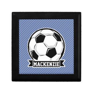 Soccer Ball, Blue & White Stripes, Sports Jewelry Box