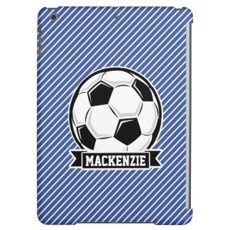 Soccer Ball, Blue & White Stripes, Sports iPad Air Case