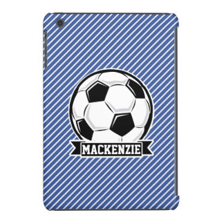 Soccer Ball, Blue & White Stripes, Sports iPad Mini Retina Cover