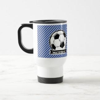 Soccer Ball, Blue & White Stripes, Sports Stainless Steel Travel Mug