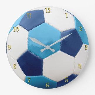 Soccer Ball Blues with yellow numerals Large Clock