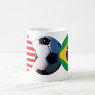 Soccer Ball Brazil & USA Flags The MUSEUM Zazzle Basic White Mug