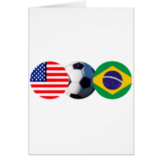Soccer Ball Brazil & USA Flags The MUSEUM Zazzle Greeting Card