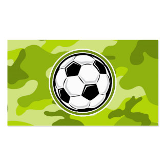 Soccer Ball bright green camo camouflage Business Cards